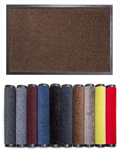 Carpet Diem Rio C Schmutzfangmatte - 5 Größen - 10 Farben Fußmatte mit äußerst starker Schmutz und Feuchtigkeitsaufnahme - Sauberlaufmatte in braun 90 x 150 cm